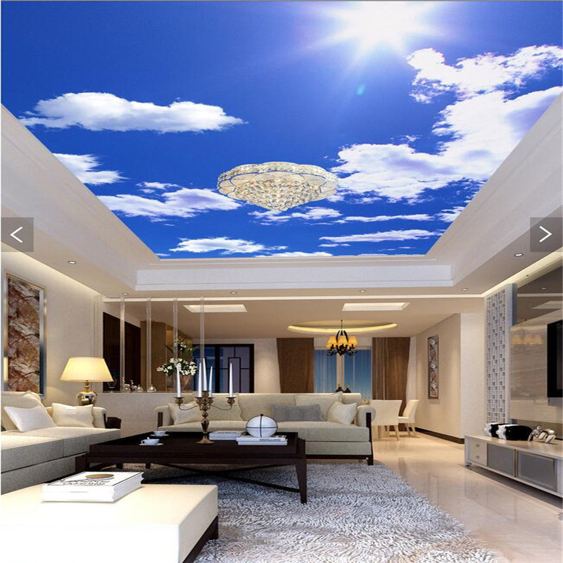 Custom Ceiling Wallpaper Blue Sky  White Clouds Murals wallpaper for Living Room Bedroom Ceiling Background Wall Mural Wallpaper custom 3d stereo ceiling mural wallpaper beautiful starry sky landscape fresco hotel living room ceiling wallpaper home decor 3d