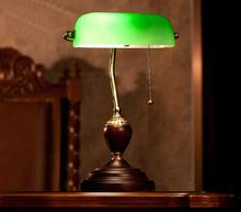 after american classical bank study of light green cover old shanghai desk lamp