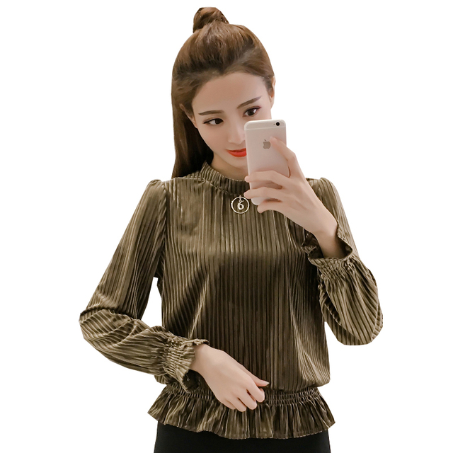 2017 New Autumn Fashion Stand Neck Slim Full Sleeve Thousand Qian (velvet Covered His Blouse Shirt Red Green Black 5538
