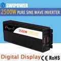 2500 W de onda senoidal pura energia solar inversor DC 12 V 24 V 48 V para AC 110 V 220 V display digital