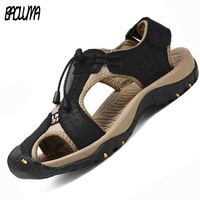 Men Sandals Genuine Split Leather Men Breathable Beach Roman Sandals Brand Men Outdoors Shoes Flip Flops Men Slippers Sneakers