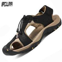 Men Sandals Genuine Split Leather Men Breathable Beach Roman Sandals Brand Men Outdoors Shoes Flip Flops Men Slippers Sneakers