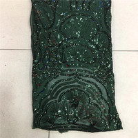 2018 African Lace fabric with Sequins High Quality Green Sequin Fabric for Sewing dresses HJ93 2