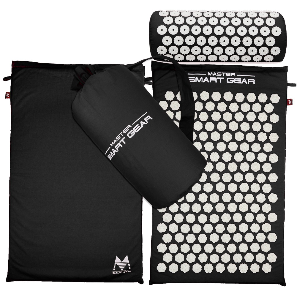 Acupressure Massage Mat Pillow Set Yoga Mat for Relieves Stress Back Neck Sciatic Pain Relaxation Tension