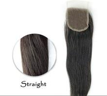 4 * 4 With130 % densidad Lace Closure superior 7A virginal del pelo recto del encierro del cordón parte libre / parte media sin nudos blanqueados cierre
