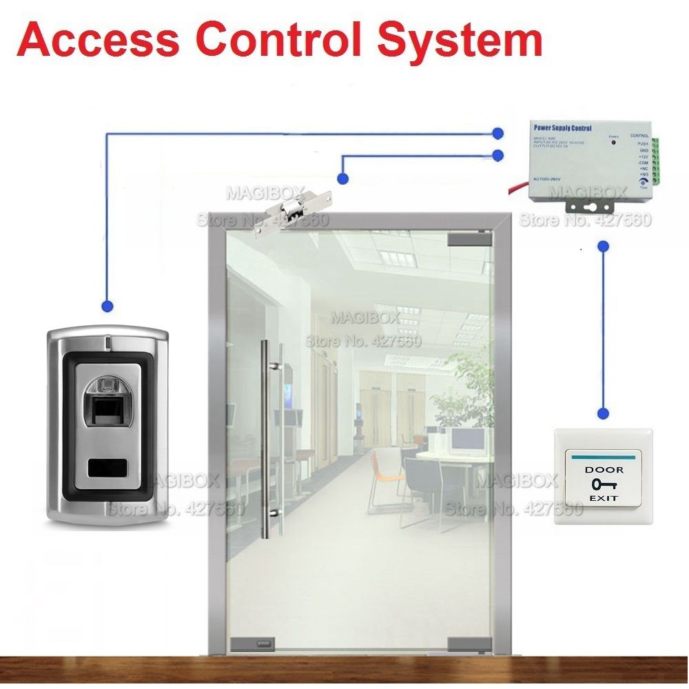 fingerprint door access control system for frameless glass door electric strike lock power supply switch in access control kits from security protection  [ 1000 x 1000 Pixel ]