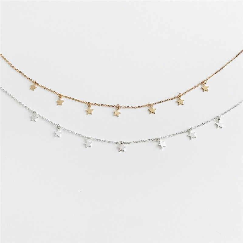 Estrela Mulheres Colar Gargantilha de Ouro Lua Colares Clavícula Cadeia collares de moda 2019 Moda Jóias Pingente Collier Femme G2