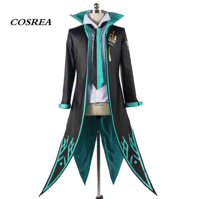 COSREA Hot Game Arena Of Valor Armour Cosplay Costume PU Full Set Shirt+Pants Trench Tie Costumes Halloween Party For Adult Man