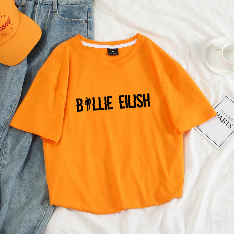 Billie Eilish T Shirts Men Letter Print Tops Fashion Harajuku 100% Cotton Short Sleeve Couples Casual Tee Shirt Homme Streetwear