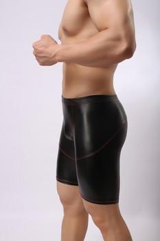Sexy Men Plus Size Wild PVC Faux Leather Panties Shorts Boxer Wetlook Clubwear Jockstrap Fetish Gay Wear Erotic lingerie FX21