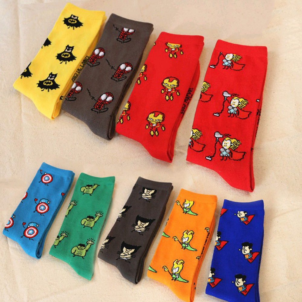 Comics Superman Hero Avenger Cartoon Men Socks Captain America Batman Iron Man Hulk Spiderman Funny Sock Marvel Long Socks Women