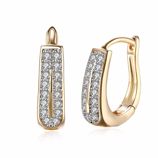 U Style Horseshoe Gold Color Earrings Luxury 2 Rows Micro Pave Setting Zirconia Wedding Engagement Small