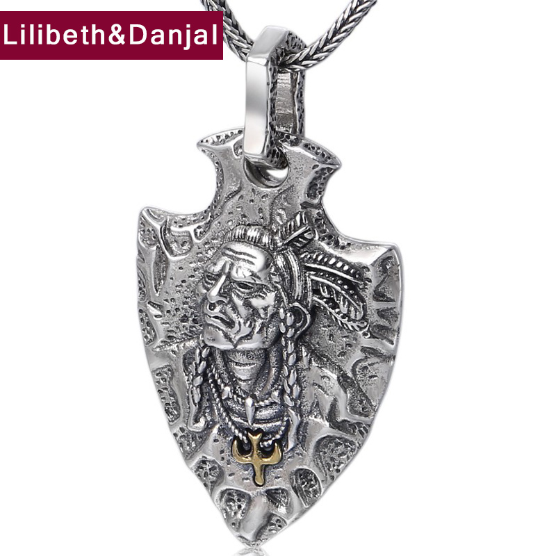 Indian Chief Pendant 100 Real 925 Sterling Silver Jewelry Men Women Ethnic Feather eagle Necklace Pendant