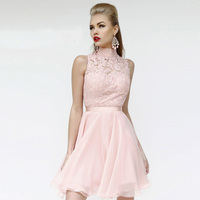 High Collar Appliques Cocktail Dresses A Line Pink Cheap Party Gowns Lace 2014 New Arrival Short