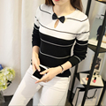 Negro del O-cuello de Manga Larga Camisa de Punto Jersey Mujeres Bowknot Encantadora Delgado Suéteres Suéteres de Rayas Finas Prendas de Punto Superior Femenino