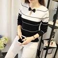 Preto O-pescoço de Manga Comprida Adorável Magro Listrado Bowknot Camisa de Malha Camisola das Mulheres Pullovers Camisolas Malha Fina Top Feminino