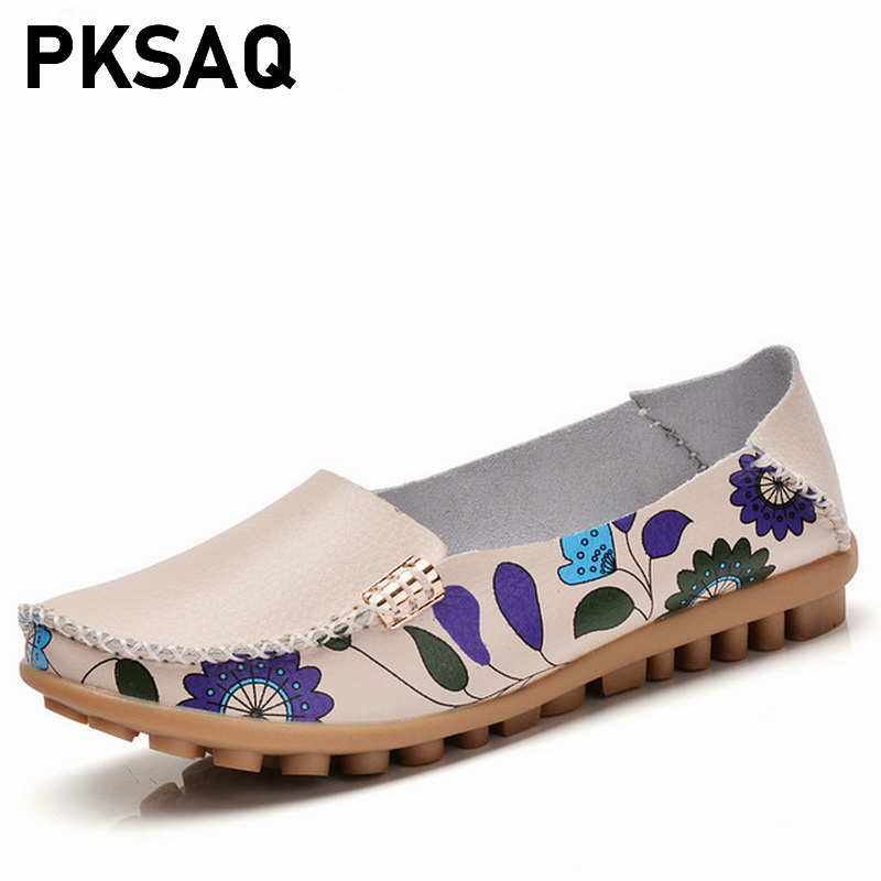 Womens Casual Shoes 2019 New Design Print Flower High Quality Genuine Leather Women Flats Slip On Female Loafers Lady Boat ShoeWomens Casual Shoes 2019 New Design Print Flower High Quality Genuine Leather Women Flats Slip On Female Loafers Lady Boat Shoe