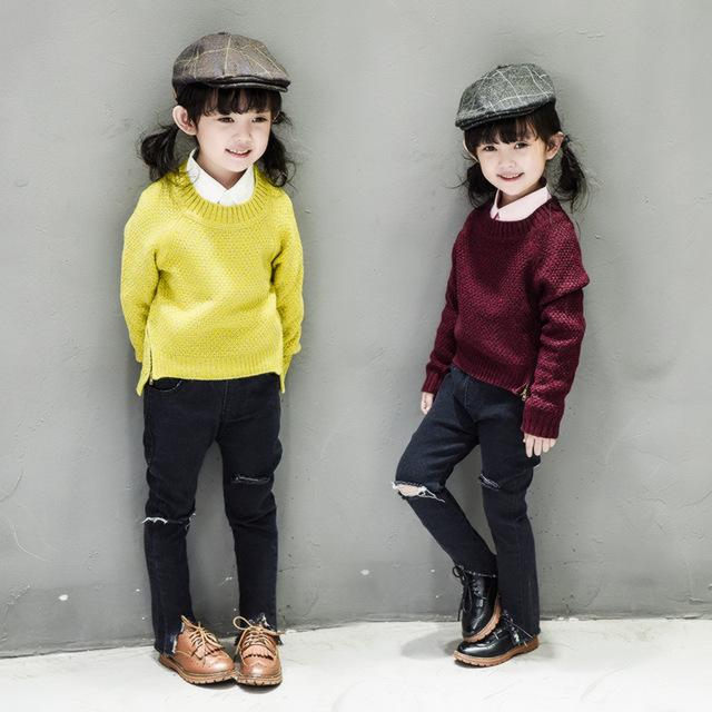 Novo 2016 Outono Inverno Bebê Meninas Crianças Criança Camisola Boutique Crianças Malha Crianças camisola bonito Roupas outwear para 2-6 Idades