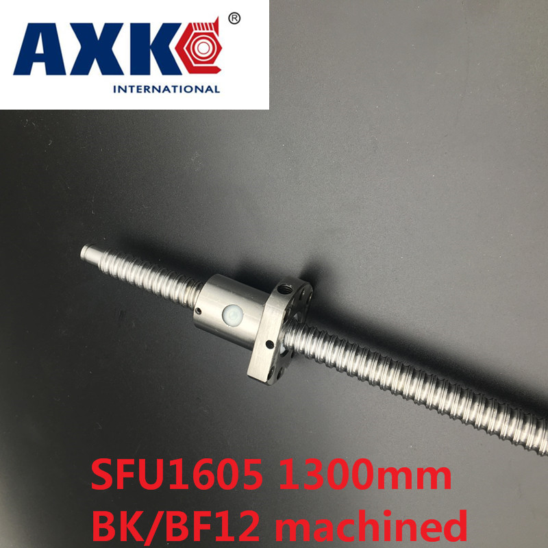 AXK Free shipping SFU1605 1300mm rolled ball screw C7 grade with 1605 flange single ball nut for BK/BF12 end machined CNC parts free shipping sfu1605 rolled ball screw c7 with 1605 flange single ball nut for cnc parts rm1605 for different length