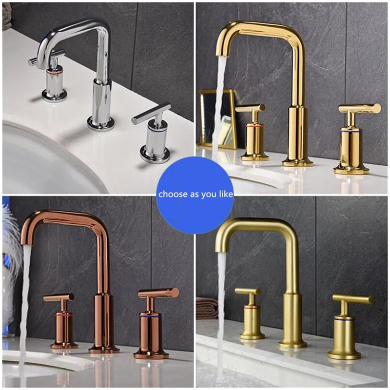 Basin Faucets Brass Polished Gold Deck Mounted Bathroom Sink Faucets 3 Hole Double Handle Hot And Cold Water Tap WidespreadBasin Faucets Brass Polished Gold Deck Mounted Bathroom Sink Faucets 3 Hole Double Handle Hot And Cold Water Tap Widespread