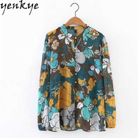 Women Vintage Floral Printed Chiffon Blouse   Shirt   Stand Collar Long Sleeve Plus Size Casual Ladies   Shirts   blusa feminina
