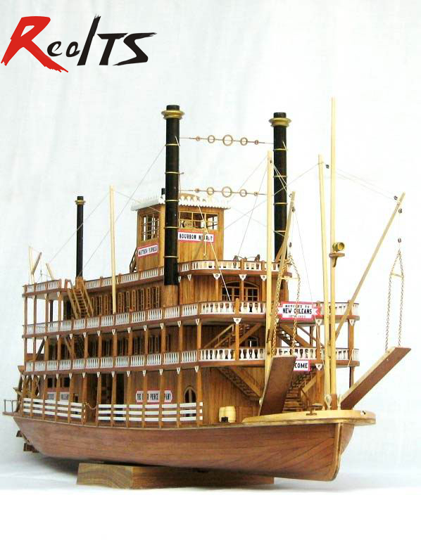 RealTS Schaal houten boot 1/100 klassiek houten stoomschip USS Mississippi model kit
