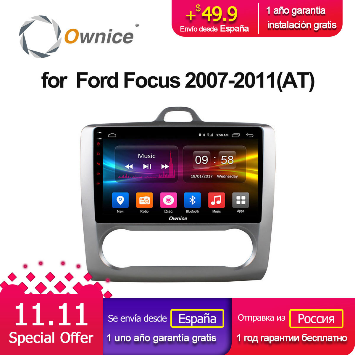 Ownice C500+ G10 Octa Core Android 8.1 Car Radio DVD player GPS Navi 2G/32G Support 4G For Ford Focus 2007 2008 2009 2010 2011 ownice c500 octa core android 6 0 car dvd gps for mazda 6 ruiyi ultra 2008 2009 2010 2011 2012 wifi 4g radio 2gb ram bt 32g rom