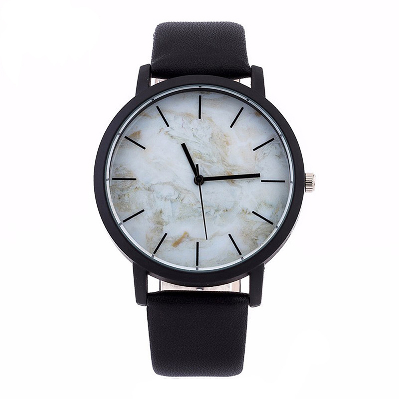 Fashion Men Wristwatch Leather Band Stainless Steel Case Marbling Dial Watch Male Gift Sport Quartz Men Watch Relojes Hombre #25