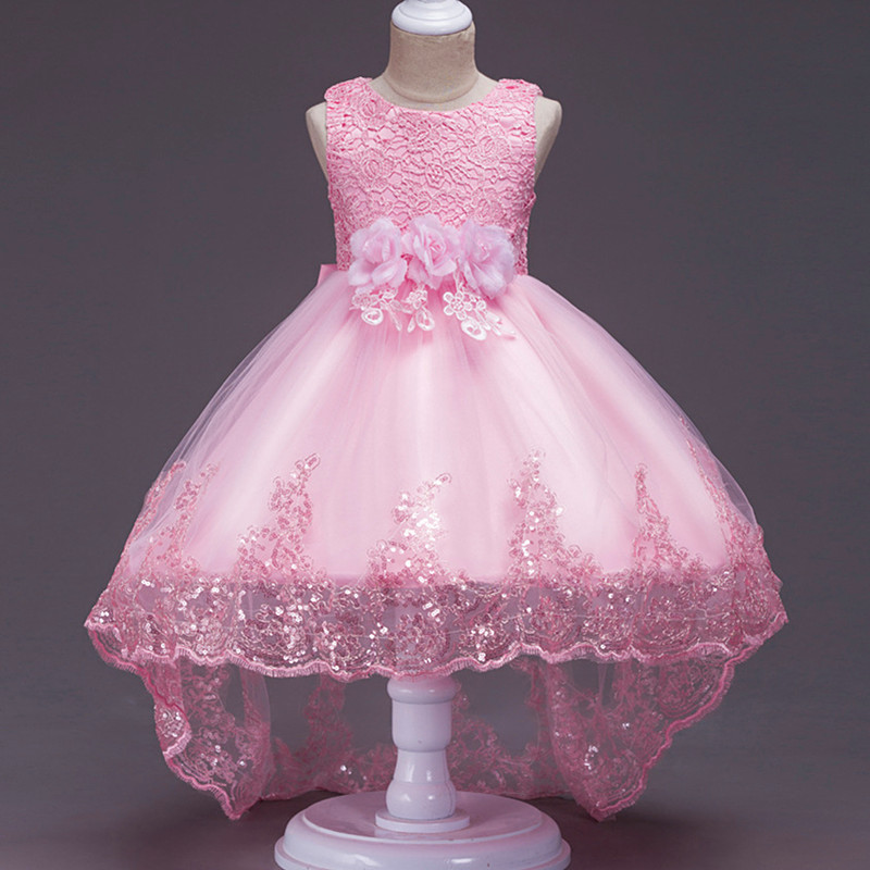 2019 Trailing Flowers Wedding Clothes Girl Dress First Communion Dresses Kids Ball Gown Children Clothing Baby Fluffy Costume