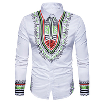Loldeal Men Traditional African Ethnic Shirt Long Sleeve Slim Fit Casual Mens Dress Shirts Camisas Masculinas 3D Print Shirt