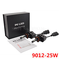 2PCS P6 9012 Luxeon ZES LED Chip CAR LED Headlight Bulb 50W 6400LM White 6000K Car