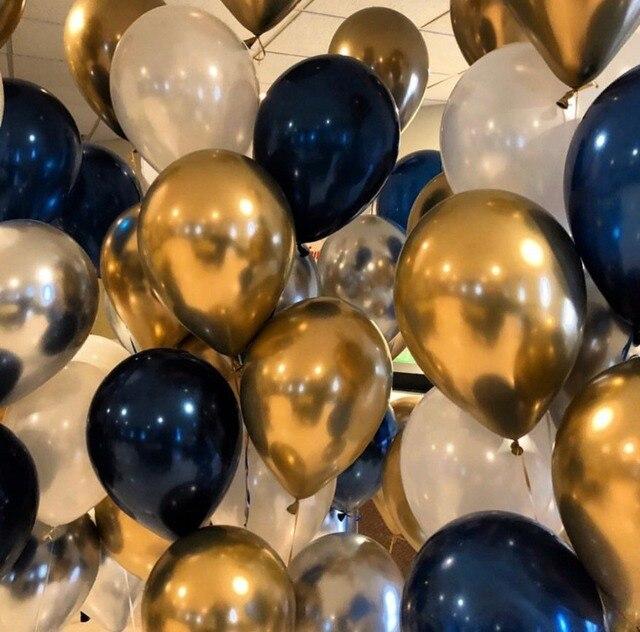 40pcs Balloons Set Mixed Chrome Gold Navy Blue Chrome Silver Pearl