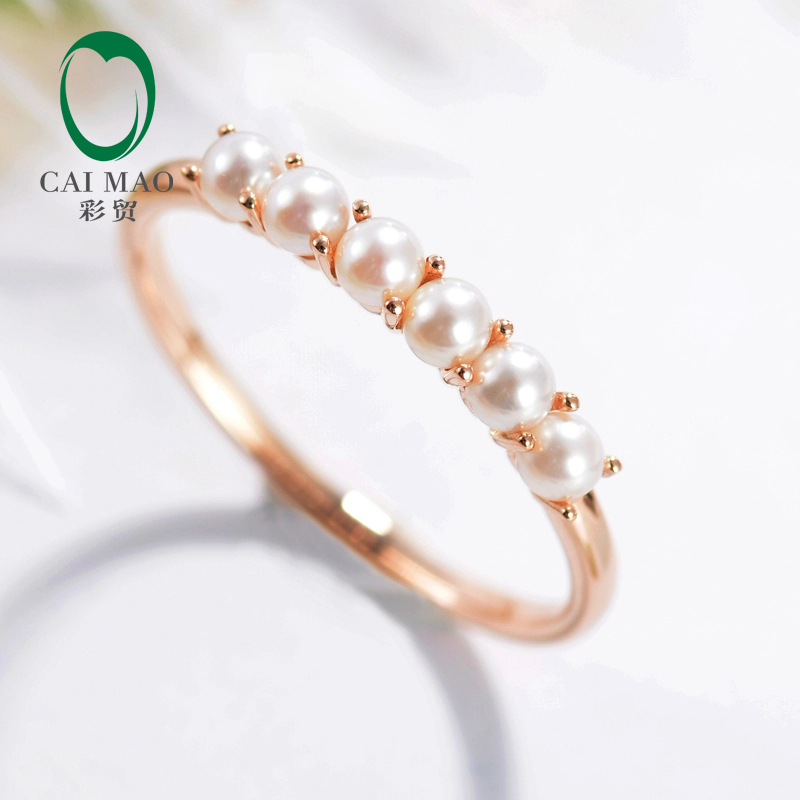 Caimao sólido 9KT oro perlas de agua dulce redonda boda Exquise anillo