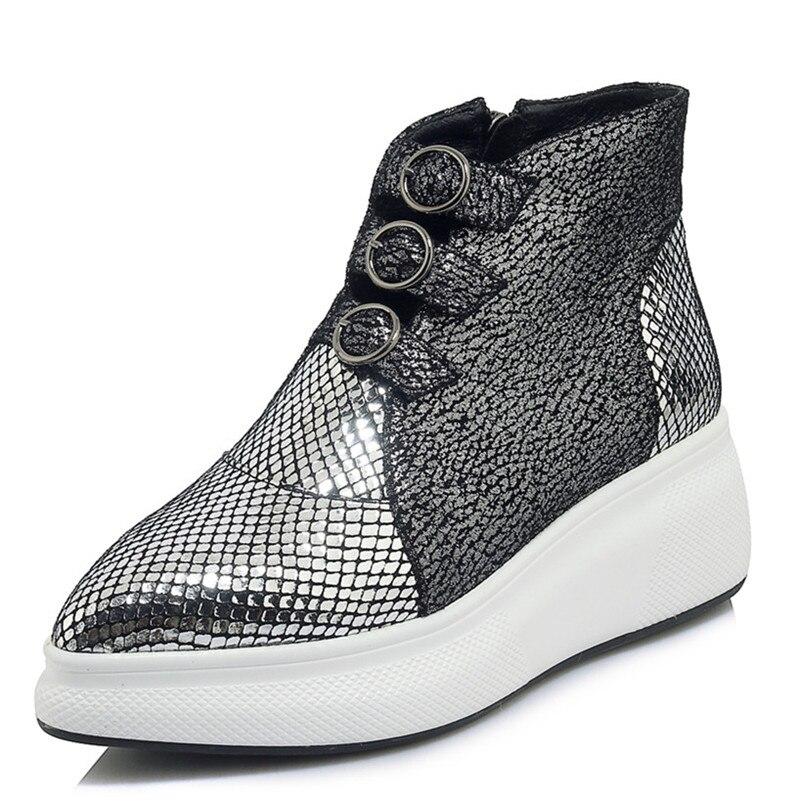 Nuevo 2019 Mujer Moda Conasco Hebillas Invierno Negro Otoño Botas Martin Tobillo Pisos Casuales plata Zapatos Plataformas Azwxwvq5