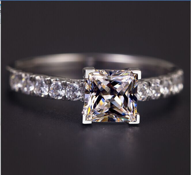 TR103 925 Sterling Silver 1 carat Princess Cut SONA Simulated Gem Engagement rings for women, wedding ring