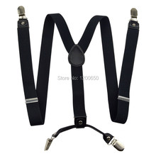 2017 Men's suspenders casual Fashion braces High quality leather  women's suspender Adjustable 4 clip Belt Strap  2.5*100cm