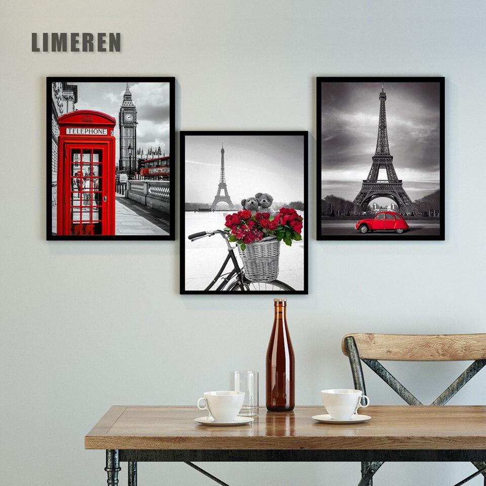13 styls rouge gris fleurs rue paysage Art photos peinture à l'huile par numéros bricolage dessin sur toile pour décor à la maison cadeau Unique