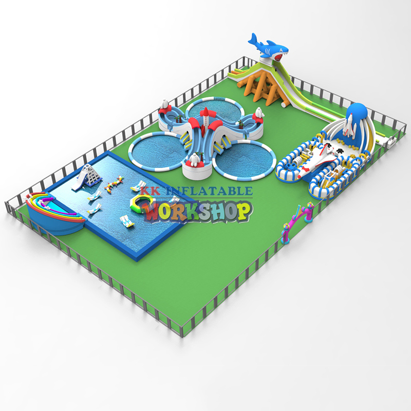 Inflatable Dry Playground Land Water Park,Inflatable Pool With Slide,water Games,inflatable Aqua Amusement Park