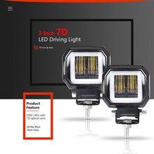 3inch led work Light Bar Square 7D lens Red Blue Angle Eyes IP67 12V 24V combo Headlight for car 4WD ATV SUV UTV UTE UAZ OffRoad