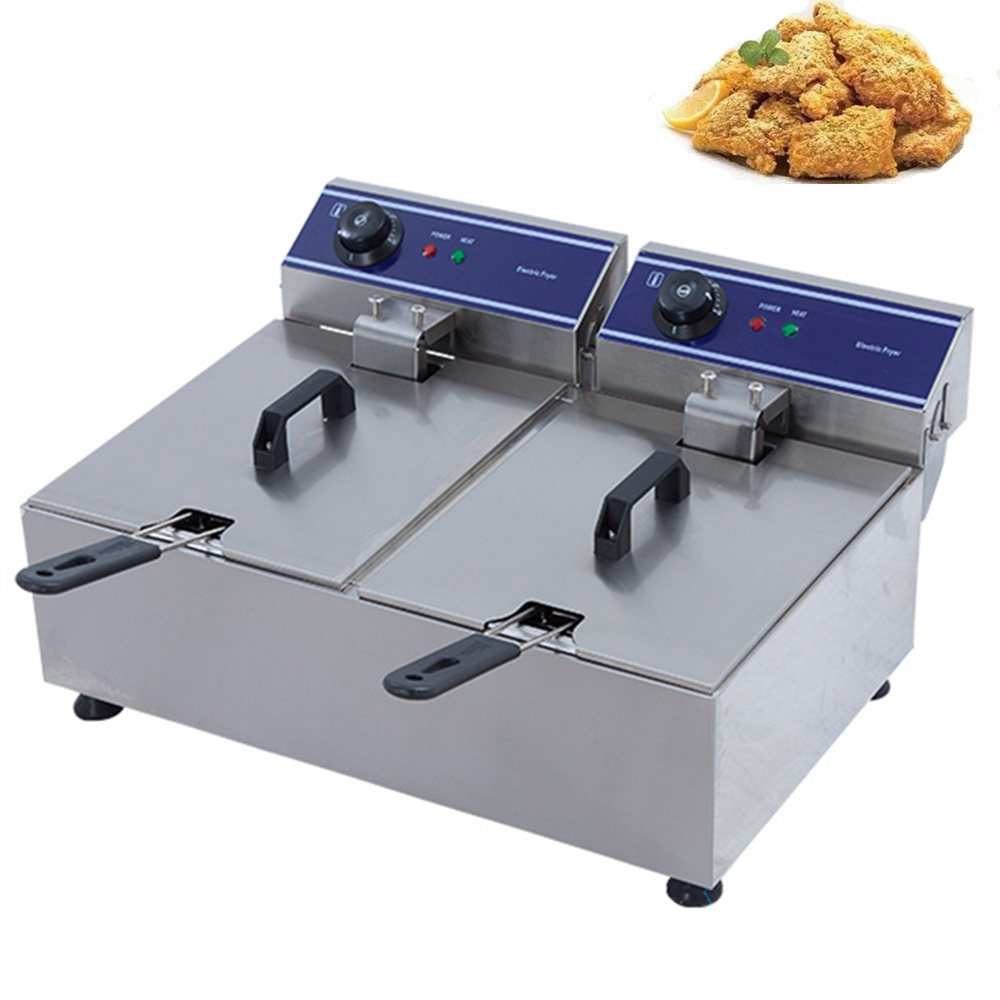 Stainless Steel Electric Deep Fryers fryer double cylinder commercial 20L large-capacity frying machine French fries chicken commercial double screen cylinder electric deep fryer french fries machine oven pot frying machine fried chicken row eu us plug