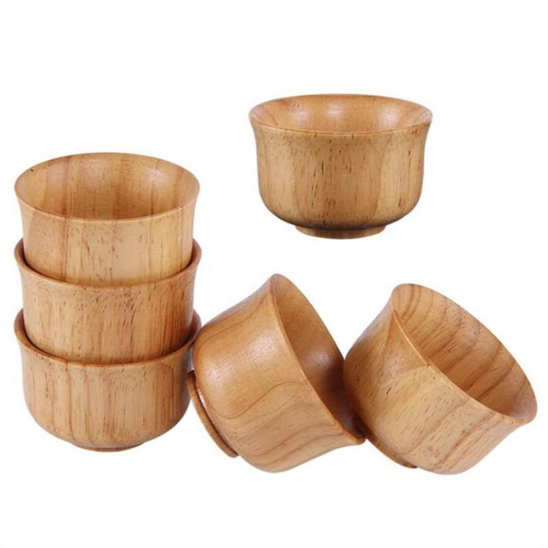 1PCwooden tea cups with handle tradition of coffee milk beer natural handmade vintage wood tableware creative gifts 3
