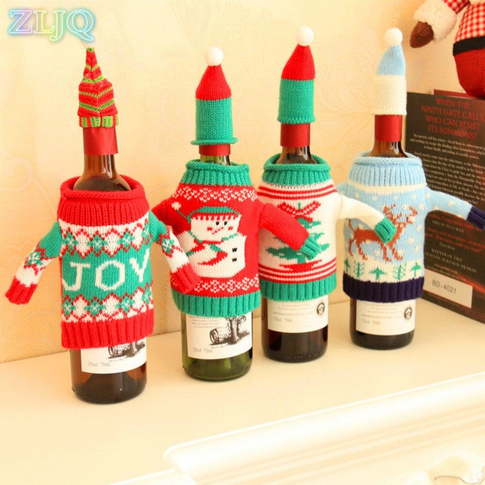 Wine bottle ornaments - Zljq Christmas Sweater Wine Bottle Cover Fashion Xmas Bottle Ornaments Sets Decor Wedding Party Decoration Supplies