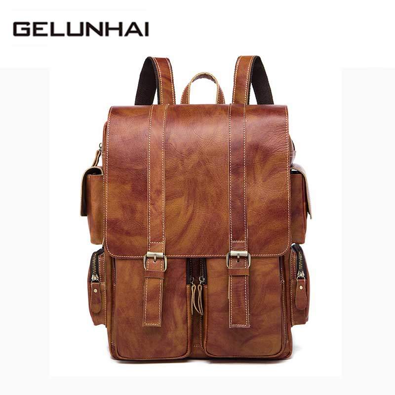 2017 Rushed Man New Backpack Genuine Cowhide Leather Men Bags Multifunctional Men's Travel Male Messenger Laptop Shoulder Bag 100% genuine leather men backpack large capacity man travel bags high quality male business bag for man computer laptop bag