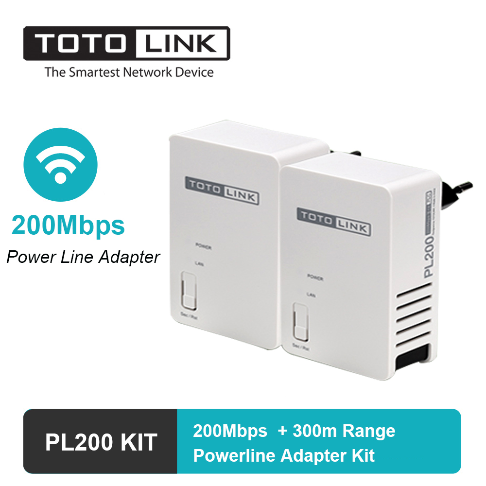 TOTOLINK Powerline Adapter 200Mbps Wireless Wifi Router Extender With Homeplug AV Bridge 300 Meters Coverage PL200 KIT
