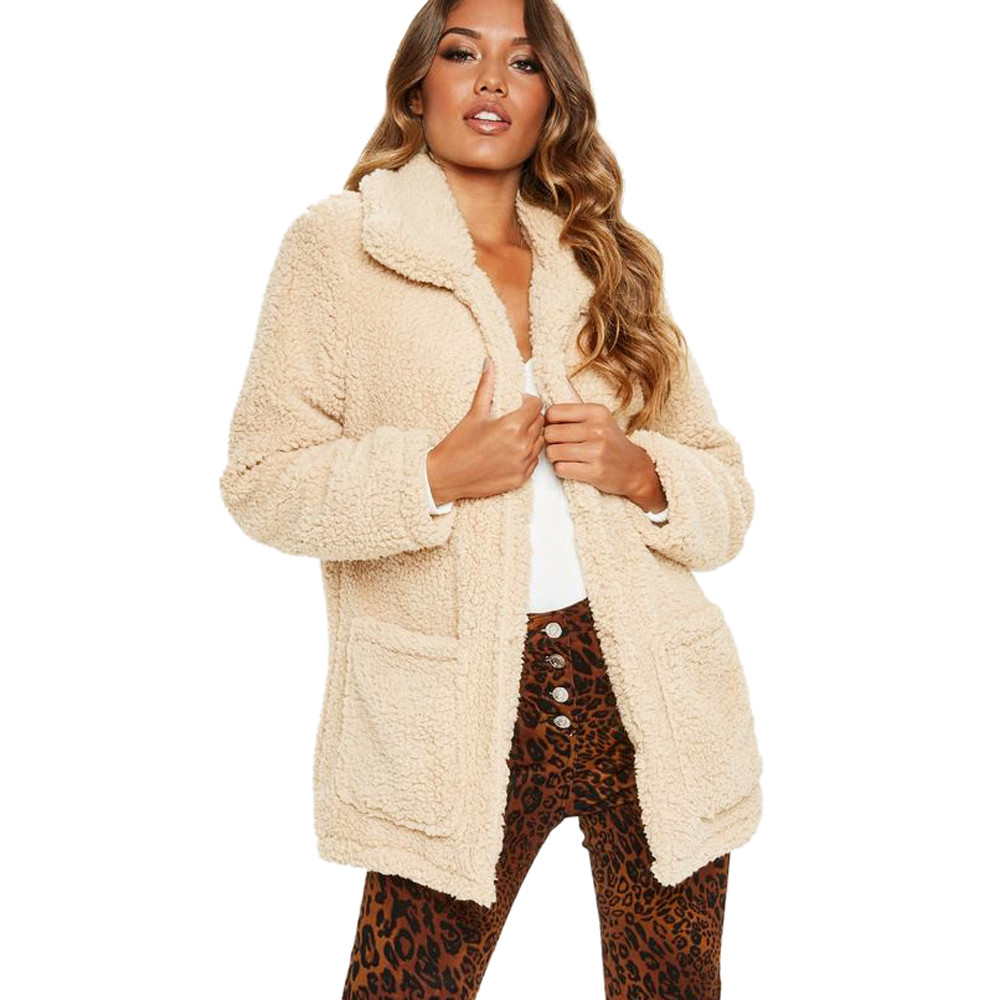 c1deb446e618b Feitong Winter Solid Warm Coat 2018 Women s Lapel Long Sleeve Faux  Shearling Coat Plus Size Women Casual Jacket Coat  PT-in Basic Jackets from  Women s ...
