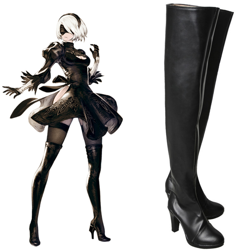 NieR:Automata Cosplay YoRHa No. 2 Type B Shoes Boots For Adult Women's High Heels Over Knee Cosplay Boots Custom Made saint seiya cosplay shoes boots anime shoes for adult men s halloween cosplay accessories custom made
