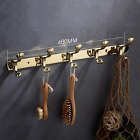 Luxury Gold Brass bathroom 460mm 5 hooks Clothes hook Europe Hanger hook
