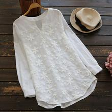 цены Yiwa Women White Sleeve Eyelet Embroidered Plain Top Blouse Office Lady Tops Blouses V Neck Lace Embroidered Long-sleeved Shirt