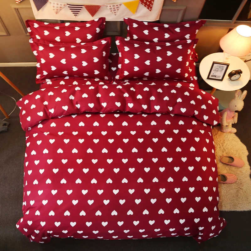Home bedding 4pcs flat sheet set red heart star bed linen set sheet pillowcase&duvet cover set cute child bedclothes leaf cover