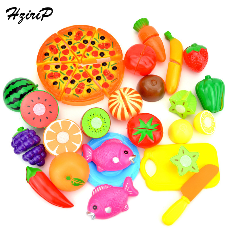 HziriP 24Pcs/lot Colorful Pretend Play Sets Kids Safety Plastic Vegetable and Fruit Kitchen Educational Toys for Children Gifts